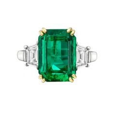 Estate Betteridge Collection Emerald-Cut Emerald & Diamond Ring