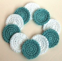 Crochet Scrubbies - Set of 10 - For Kitchen or Bathroom - Soft Teal, White - 100% Cotton