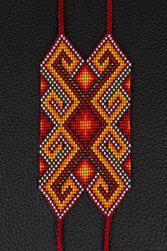 SALE Tender Fire Bracelet by myilumina on Etsy Bead Loom Patterns, Peyote Patterns, Bracelet Patterns, Beading Patterns, Native Beadwork, Native American Beadwork, Bead Loom Bracelets, Woven Bracelets, Tapestry Crochet