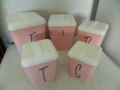 Vintage Retro Gay Ware Salmon Pink White Kitchen Canisters x 5 | eBay