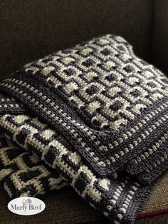 Crochet throw pattern - Chic Modern Mosaic Blocks Throw Free Pattern by Marly Bird – Crochet throw pattern Crochet Throw Pattern, Tapestry Crochet Patterns, Crochet Blocks, Crochet Chart, Baby Blanket Crochet, Crochet Stitches, Knit Crochet, Knitting Patterns, Free Crochet