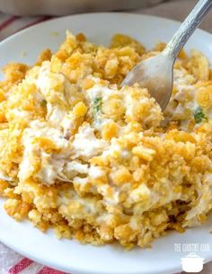 Ritz Chicken Casserole only has 6 ingredients! It is a family favorite! Creamy deliciousness with a crunchy Ritz cracker topping! Ritz chicken casserole - Creamy Ritz Chicken Casserole on a white plate Ritz Chicken Casserole, Dinner Casserole Recipes, Casserole Dishes, Poppy Seed Chicken Casserole, Chicken And Dressing Casserole, Chicken Spaghetti Casserole, Healthy Chicken Casserole, Healthy Casserole Recipes, Best Casseroles