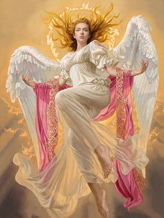 Artist: Tsuyoshi Nagano - Title: Uriel - Card: Phanuel, Archangel of Dogma (Envoy). //So, so pretty EL// Angels Among Us, Angels And Demons, Motion Images, Image In Motion, Angel Falls, I Believe In Angels, Ange Demon, Angel Pictures, Angel Images