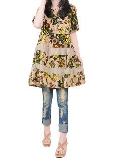 Sale 27% (23.85$) - Vintage Boho Floral Printed Linen Cotton Loose Mini Dress For Women