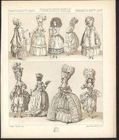 France Noble Women Giant Head Dress C 1880 Antique Tinted Lithograph Print | eBay