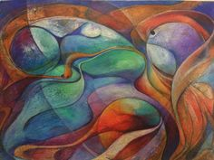 "Mixed media watercolor and prismacolor verithin color pencils  6 x 8 "" abstract"