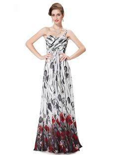 White One Shoulder Sweetheart Tie Dye Floral Ruched Maxi Dress