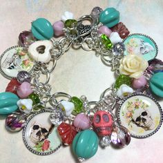 Skull and Flowers,  Charm bracelet, altered art, Jewelry, glass flower beads, handmade, One of a kind, by Bostoncharm on Etsy