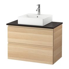 """IKEA - GODMORGON/TOLKEN / TÖRNVIKEN, Vanity, countertop and 17 3/4"""" sink, anthracite, white stained oak effect, , 10-year Limited Warranty. Read about the terms in the Limited Warranty brochure.Laminate countertops are highly durable and easy to maintain. A little care will keep them looking brand new for years.You can place the sink where you prefer – left, right or in the middle.Smooth-running and soft-closing drawers with pull-out stop.You can easily customize the s..."""
