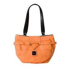 Don't you love the first sweet bite of a just-picked cantaloupe? Orange in all its shades is the perfect accent colour to brighten your wardrobe and makes you feel refreshed all day long. Demi Colton features pebble-grain textured faux leather with illusion band detailing and chic drop plate logo. Silver hardware; rectangular bottom; two flat front pockets.