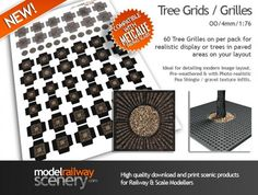 Modern image Tree Grids / Tree Grilles in 1:76 scale. Add trees and saplings to paved areas on your layout with this easy to use Tree Grids kit. #modelrailway #modeltrains