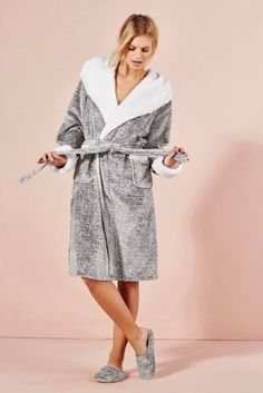 Buy Grey Space Dye Sheepy Trim Robe from the Next UK online shop Stylish Outfits, Cute Outfits, Fashion Outfits, Lingerie, Dressing, Beautiful Dresses For Women, Well Dressed, Aesthetic Clothes, Night Gown