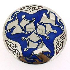 Round Celtic Horses Brooch Blue Enamel  and  Silver