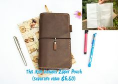 A new original leather notebook of Sanadori style, with extra features including top quality soft Italian leather, zipper PVC pouch for storing tickets, bills and coins, two leather pockets including credit card slot, three inserts of extra white paper for pens and pencils writing and drawing.