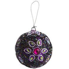 Pier 1 Purple Beaded Ball Ornament
