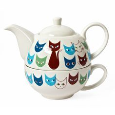 """Cat Mask Tea For One Set Blue  by Kaoru Shibata, 38% off (""""Even without opposable thumbs, these cats can brew and serve tea. The Cat Mask Tea For One Set is made of fine porcelain, with every cat mask painted in delightful detail. The pot stacks inside the mug for convenient, stylish storage."""")"""
