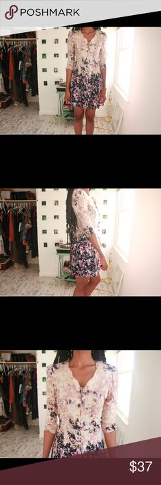 Ombre Vintage Style Mini Dress Bio: Ooouuuh this dress is so cool! Ombre floral patterning add a tad bit of edginess to this fitted vintage inspired mini. Details: front button closure, waist tie at back for size adjustments, shoulder pads, unlined Bust: 34 inches Waist: 26 inches Hips: 32 inches Full Garment Length: 35 inches Estimated size:S Label: Custom Label Color: Ombre (pink and black) Condition/Care: Good ( missing last button) Model Stats: Height:6'0, Bust:35, Waist:29, Hips:39…