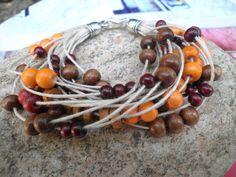 bracelet multi fils perles bois marron orange : Bracelet par le-13
