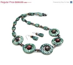 ON SALE Green jasper statement necklace  by sparklecityjewelry, $49.30