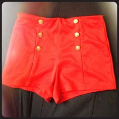 Short high waisted sailor shorts! Pre loved ☀️ Stretchy shorts with button detailing from forever 21. Runs smaller. Very cool! Forever 21 Shorts