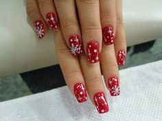 Red. Snow flakes