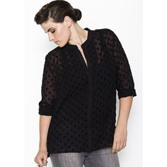 Sambuscus sheer black polka dotted shirt blouse. $132. Plus Size.