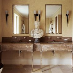 One of my earliest bathrooms which incorporates Jerusalem stone, walnut travertine and polished plaster. Masculine Bathroom, Polished Plaster, Travertine, Architectural Digest, Elle Decor, Decoration, Double Vanity, Interior Architecture, Jerusalem