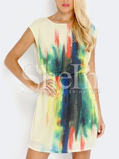 Shop Multicolor Cap Sleeve Dress online. SheIn offers Multicolor Cap Sleeve Dress & more to fit your fashionable needs.