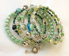 Chirstals and stones memory wire bracelet in greens.