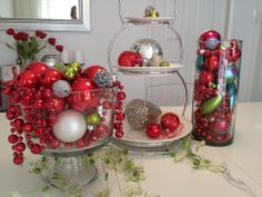 DIY - Glass Bowl, Vase and Cookie Tray with Christmas Balls, Beads and Ornaments.