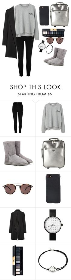 """""""Untitled #839"""" by hela-ba ❤ liked on Polyvore featuring River Island, MANGO, UGG, Prada, Oliver Peoples, Shinola, The Row and Alex and Ani"""
