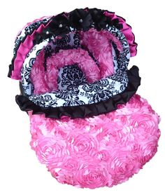 Elegant Rose Infant Carseat Cover, Baby Metal Rose Carseat Cover