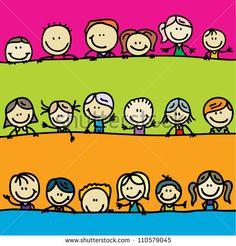 Doodle borders of happy kids - stock vector