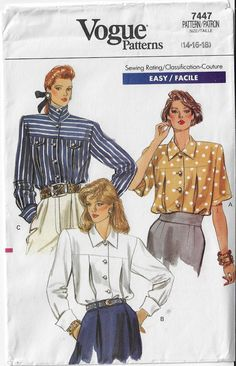 Vogue 8883 Loose-fit Shirt w//Collar /& Sleeve Variations Very Easy Sewing Pattern