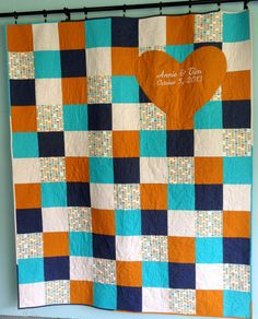 Wedding Heart Signature Fall Quilt by HomeSewnStudio on Etsy, $235.00