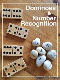 Teaching Numbers and Number Recognition with Dominoes – Bambini Travel Teaching Numbers, Numbers Kindergarten, Numbers Preschool, Kindergarten Activities, Teaching Math, Preschool Activities, Maths, Montessori Math, Preschool Curriculum