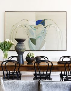 Old French Kitchen dining table from Ernst Zacher Antiques, Thonet Chairs in Black and Emily Ferretti Painting from Sophie Gannon Gallery. P...