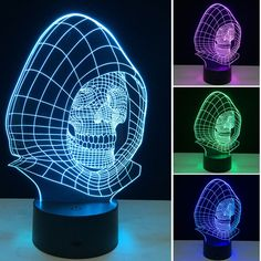 3D Night Lights 7 Color Changing Skull USB Optical Illusion Home Decor LED Table Lamp Colorful Gradient Atmosphere SA717  #Affiliate