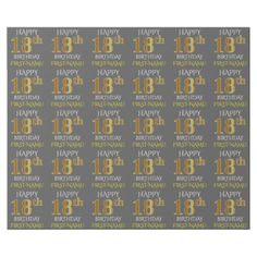 """Gray Faux Gold """"HAPPY 18th BIRTHDAY"""" Wrapping Paper - birthday gifts party celebration custom gift ideas diy"""