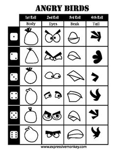 Angry Birds Dice Drawing Sheet... This could be an interesting activity...