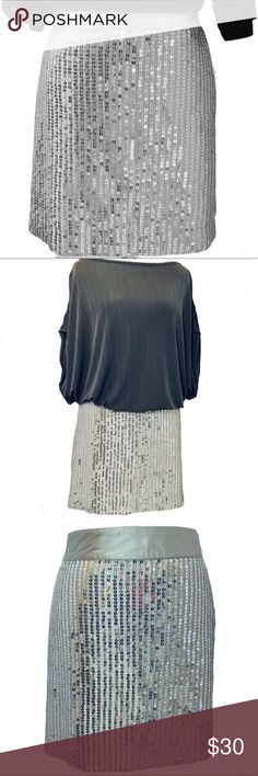 NWT Gap Sequin Mini Skirt Size 18 Silver Sequin plus size mini skirt from Gap, new with tags. Size 18 Fully lined Side zip Measurements are shown in last photo were taken flat and are approximate GAP Skirts Mini