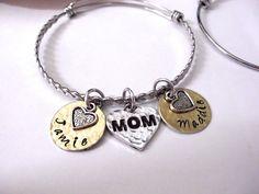 Mom Bracelet, Mom Jewelry, Personalized Mom Jewelry, Gift for Mom, Braided…