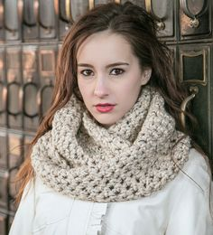 Oatmeal Infinity Scarf  THE ELOISE  Wool Circle by MercierMarche