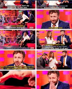 The Graham Norton Show- Chris O'Dowd  Eating a fly. I haven't laughed this hard in ages!!
