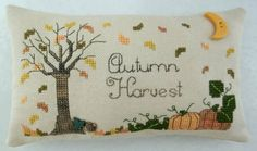 Make To Order / Autumn Harvest Cross Stitched by luvinstitchin4u, $21.00