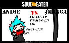 Soul Eater Anime vs. Manga : Black Star by nobodygoddammit.deviantart.com on @deviantART