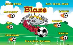 Blaze B52882  digitally printed vinyl soccer sports team banner. Made in the USA and shipped fast by BannersUSA.  You can easily create a similar banner using our Live Designer where you can manipulate ALL of the elements of ANY template.  You can change colors, add/change/remove text and graphics and resize the elements of your design, making it completely your own creation.
