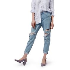 Petite Topshop Moto 'Hayden' Bleach Ripped Boyfriend Jeans (€72) ❤ liked on Polyvore featuring jeans, light denim, petite, distressed boyfriend jeans, distressed jeans, destructed boyfriend jeans, ripped jeans and white destroyed boyfriend jeans