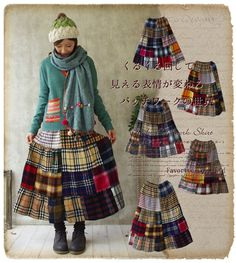Favorite | Rakuten Global Market: Patchwork forest girl ~ 13, turning round and round the world is infinitely ° +... fascinated by the tunnel materials check that Mori girl patchwork skirt * fs3gm