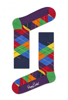 A traditional pattern is bought up to date with these Argyle socks. Primary tones of paintbox-colored diamonds are set off by a deep plum sole and . Crazy Socks For Men, Mens Designer Socks, Navy And Green, Blue Orange, Red Green, Yellow, Unique Socks, Argyle Socks, Happy Socks